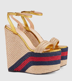 9cd14d9af4d77c Fashion Rope Braided Platform Wedge Sandal 2018 Sexy Open Toe Ankle Strap  Woman Shoes Ultra High Mixed Colors Summer Heels