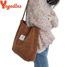 $enCountryForm.capitalKeyWord Australia - Yogodlns High Capacity Women Corduroy Bags Casual Totes Solid Color Beach Shoulder Bag Foldable Girls Reusable Shopping Handbags