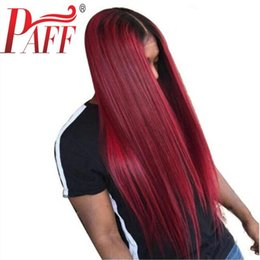 burgundy wine hair wig NZ - PAFF Wine red glueless lace human hair front wig straight virgin hair Brazilian two tone 1B 99J wig with middle part