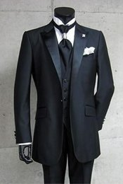 New prom tuxedos online shopping - Brand New pieces Groom Tuxedos Black Best Man Peak Satin Lapel Groomsmen Men Wedding Suits Prom Formals Bridegroom Suit