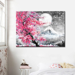 scenery spray painting Australia - Frameless Mount Fuji Scenery Color Canvas Painting Spray Print Posters For Home Living Room Bedroom Wall Decoration Art Picture