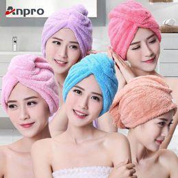 $enCountryForm.capitalKeyWord NZ - Anpro Coral Velvet Dry Hair Bath Towel Microfiber Quick Drying Turban Super Absorbent Women Hair Cap Wrap with Button thicken D19011201