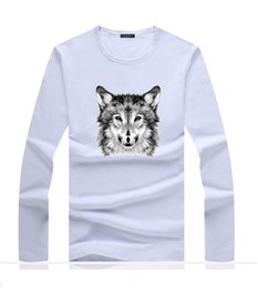 wholesale wolf shirts Australia - Best Selling Summer Classic Design Printed Tshirts Wolf Mens Cotton Tee Shirts Long Sleeved Tees Free Shipping A0110