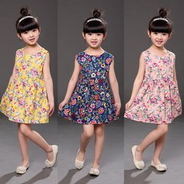 Cheap fashion baby Clothing online shopping - 11 Colors Cheap Baby Girls Sleeveless Floral Princess Dress Clothing Children Fashion Printed Casual Cotton Dresses Kids Designer Clothes
