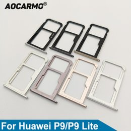 huawei sim card slot UK - Cellphones & Telecommunications Aocarmo SD MicroSD Holder Nano Sim Card Tray Slot For Huawei P9 EVA-AL00 P9 Lite Replacement Part