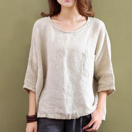T Shirts Woman Vintage Australia - Johnature 2019 Spring New Women T-shirts Original Half Sleeve Cotton Linen O-neck Loose Casual High Quality Pockets Vintage Top Y19051301