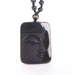 Necklaces Pendants Australia - Obsidian Vintage Necklace Black Jade Pendant Buddha Head Pendant For Women&men Jewelry Jade Jewelry Y19051603
