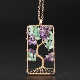 Charms Wire Wrapping Australia - NEW Wire Wrap Tree of Life Pendant Natural Stone Purple Crystal Green Quartz Aventurine Rectangle Necklace For Women