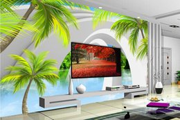 Plants Tree Painting Australia - Custom Mural Wallpaper For Walls 3D StereoscopicThree-dimensional space coconut tree sea Bedroom TV Background Home Wall Decoration Painting