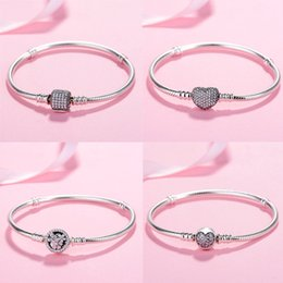 pave clasps Australia - Original 925 Sterling Silver Moments Pave Heart Clasp With Crystal Pan Bracelet Bangle Fit Bead Charm Diy Europe Jewelry Y19062901