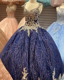 gold sequin prom dress short Australia - Amazing Navy Blue Gold Lace 2020 Cheap Quinceanera Prom Dresses Ball Gown Cap Short Sleeves Sequined Tulle Sweet 16 Dress Vestidos 15 Anos