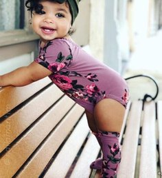 long socks outfit 2019 - baby summer flower romper jumpsuit onesies +Long socks legging 2pcs kid clothing boutique outfits for babies girls toddl