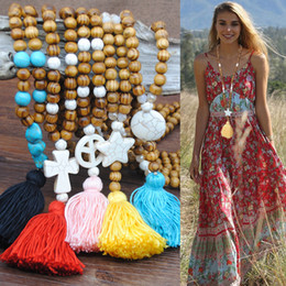 Discount big star beads - Bohemian Long Fringed Wooden Beads Pendant Necklace For Female Women Statement Colorful Fringe Star Heart Big Sweater Je