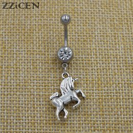 Belly Piercing Pendant Australia - New 2019 Fashion Horse Unicorn Pendant Dangle Navel Belly Button Rings Crystal Body Piercing Jewelry for Women Best Friend Gifts