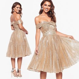 Knee length glitter dresses online shopping - Bling Champagne Short Prom Dresses Off Shoulder Gold Glitters Knee Length Plus Size Evening Gowns Cocktail Party Dress
