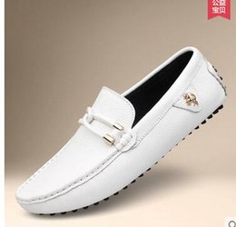 Men S Breathable Summer Shoes Australia - 2019 White Black Summer Sale 20160 New Fashion Sneakers Genuine Leather Men Breathable Driving Shoes Men 's Loafers Dress