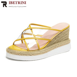 Silver Ladies Canvas Shoes Australia - RIBETRINI Brand Design Genuine Leather Summer Slippers Shoes Ladies Wedges High Heels Platform Shoes Woman Casual Slpppers