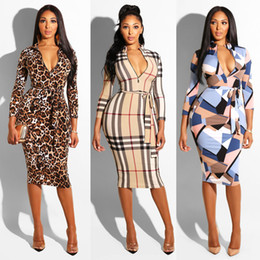 $enCountryForm.capitalKeyWord NZ - 2019 New Sexy Leopard Women Dresses Long Sleeve Zippers Printed Bodycon Party Dresses Sexy dresses Clubwear With Sashes