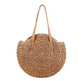 crochet japan UK - Women Round Shoulder Bag Summer Beach Straw Bag Circular Hollow Out Crochet Handmade Travel Shopping Tote Rattan Circle Bags for Lady