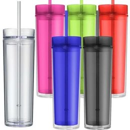 Electric Hot Warmer Australia - 2019 New arrival 16 OZ Acrylic Tumbler Double Walled Clear Classic Skinny Tumbler Insulated with lids and straws