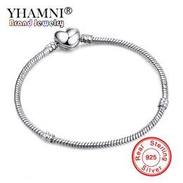 $enCountryForm.capitalKeyWord NZ - YHAMNI 100% 925 Solid Silver Heart Shape Clasp Snake Chain Charm Bracelets For Women Girl DIY Making Jewelry Gift BH191