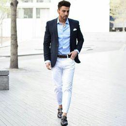$enCountryForm.capitalKeyWord Australia - Casual Slim Fit Navy Blue Men Business Blazer Men Suits for Wedding White Trousers Groom Tuxedos 2Piece Terno Masculino trajes de hombre