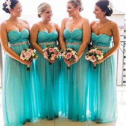 Beautiful Beach Pictures Australia - Beautiful Beach Turq Bridesmaid Dresses Long Chiffon Sweetheart Crystal Ribbon Pleated Empire Wedding Party Prom Bridesmaids Dress