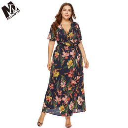 Maxdiroo 2019 New Summer Women Sexy Deep V Neck Plus Size 5XL 6XL Short  Sleeve Long Dress Print Floral Fit And Flare Bech Dress 74d46cebd5a