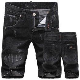 Atacado-SKULL Verão dos homens Denim Shorts Da Marca Rasgado Buracos Jeans Casual Shorts para Homens 28-36 Frete Grátis FS5181 venda por atacado