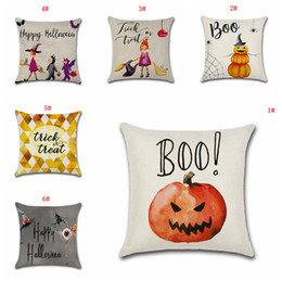 Wholesale Halloween Home Decorative Pillow Cover Sofa Cushion Cover Cartoon Pumpkin Printed Pillow Case x18inch Cushion Cover Free Ship DBC VT0571