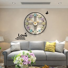wall watch silent 2019 - Creative MEISD Embossment Color Printing Silent Wall Clocks Antique Large Wall Clock Modern Design Quartz Hanging Watch