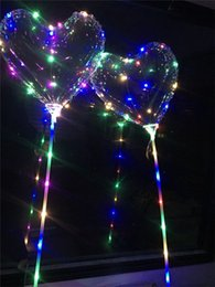 Festival light up toys online shopping - Love Heart LED Luminous Balloon BoBo Ball Flashing Light Transparent Hear Shape Balloons with Pole Toys for Valentine s Day Wedding Festival