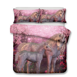 Plain White Bedding Australia - Lucky Home King Size 3D Cartoon Unicorn Patern Bedding Set Chilren Bed Home Textile Hotel Bedding Sheet Sets for Baby ,Adults Animal Sets