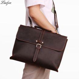 Leather Bag For Inches Australia - Men Business Briefcase Crazy horse Genuine Leather 15 inch Laptop Handbag Cowhide Shoulder Messenge bag For Male A4 Office Tote