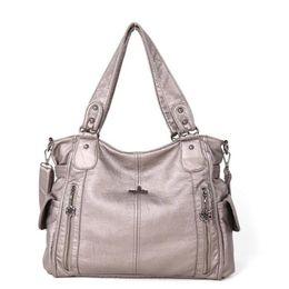Washed Messenger Bag Australia - Large Capacity Women Dumpling bag Shoulder Tote Bags New Female Messenger Bags Fashion Designers Washing water pu wrist Handbags