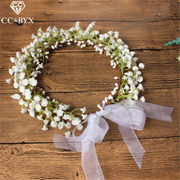 hair crowns for brides UK - Cc Flower Crowns Tiaras Hairbands Romantic Sweet Garland Wedding Hair Accessories For Bride Bridesmaids Beach Jewelry Diy Su022 T190620