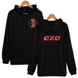 Exo jackEt online shopping - Hip Hop EXO Casual Zipper Hoodies Young Sweatshirts Men Women Fashion style Comfortable Printing Hoodie Jackets Autumn Winter clothes