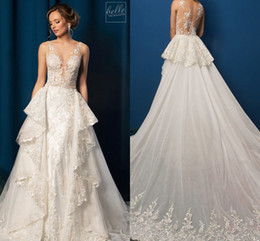 $enCountryForm.capitalKeyWord Australia - Full Lace Applique Trumpet Wedding Gown with Detachable Train Sheer Jewel Neck Sweep Train Amelia Sposa Wedding Dresses 2019