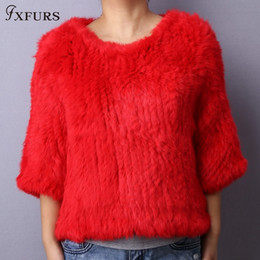 striped poncho women UK - FXFURS 2019 Knitted Rabbit Fur Poncho Women Fashion Fur Sweater 100% Real Fur Jackets Girl's PulloverMX191009
