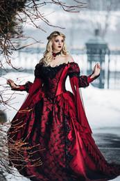 Venta al por mayor de 2019 Gótica Bella Durmiente Princesa Medieval Rojo y Negro Vestido de novia Vestido de novia de manga larga Apliques de encaje Vestidos de novia victorianos