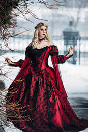 $enCountryForm.capitalKeyWord Australia - 2019 Gothic Sleeping Beauty Princess Medieval Red and Black Ball Gown Wedding Dress Long Sleeve Lace Appliques Victorian Bridal Gowns