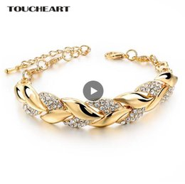 Crystal For Women Australia - 2019 Bohemia Braided Gold color Leaf Bracelets & Bangles With Stones Crystal Bracelets For Women Wedding Jewelry