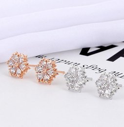 $enCountryForm.capitalKeyWord NZ - The new 2019 is a hot sale for simple, personalized swarovski elements, elegant and romantic snowflake ear studs, a replacement hair rose go