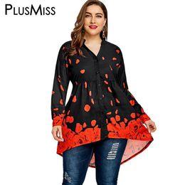 $enCountryForm.capitalKeyWord Australia - Plusmiss Plus Size 4xl Floral Rose Printed Loose Tunic Top Women Clothing Big Size Long Sleeve Long Blouse Shirt Nice Blusas