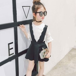Trends Clothing Australia - Children's Clothing Spring and Summer Set New Style Korean Version of The Trend of The Girls Sexy Mesh Top + Strap Dress