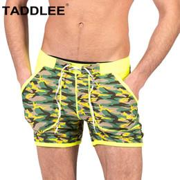 Discount male swim bikini - Taddlee Brand Swimwear Men's Swimsuits Swim Briefs Bikini Square Cut Long Leg Boardshorts Surf Pockets Trunks Boxer