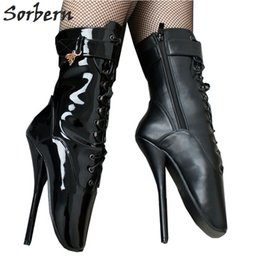 Wholesale Sorbern Ballet Pointe Boots Fetish Pinup Ballet Zipper Lace up Ankle Boots For Women Shoes cm Extrem High Heel Stand On Toe