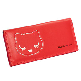 Ladies Card Wallet Cheap NZ - New Women Wallets Soft Pu Leather Brand Design Lady Coin Purse Lovely Cat Moneybags Woman Wallet Cards Holder Cheap Purses Bags