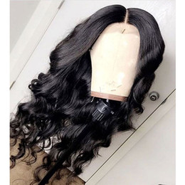 Womens Black Wigs Australia - Free Shipping 180% Density Synthetic Lace Front Wigs Black Body Wave Hair High Quality Pure Colour Party Wig Heat Resistant Womens Wigs