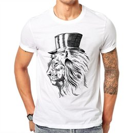 97ab8dc6 100% Cotton High Hat Lion Design Men T-shirt Novelty Animal Printed Male  Cool Tops Hipster Short Sleeve Casual Tee T Shirts